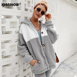Image 2 - XUANSHOW 2019 Kış Kadın Coat Kapşonlu Gevşek Moda Uzun Kollu Kabarık Splice Kadın Üst Hoodies Sıcak Giysiler Tutmak S XL