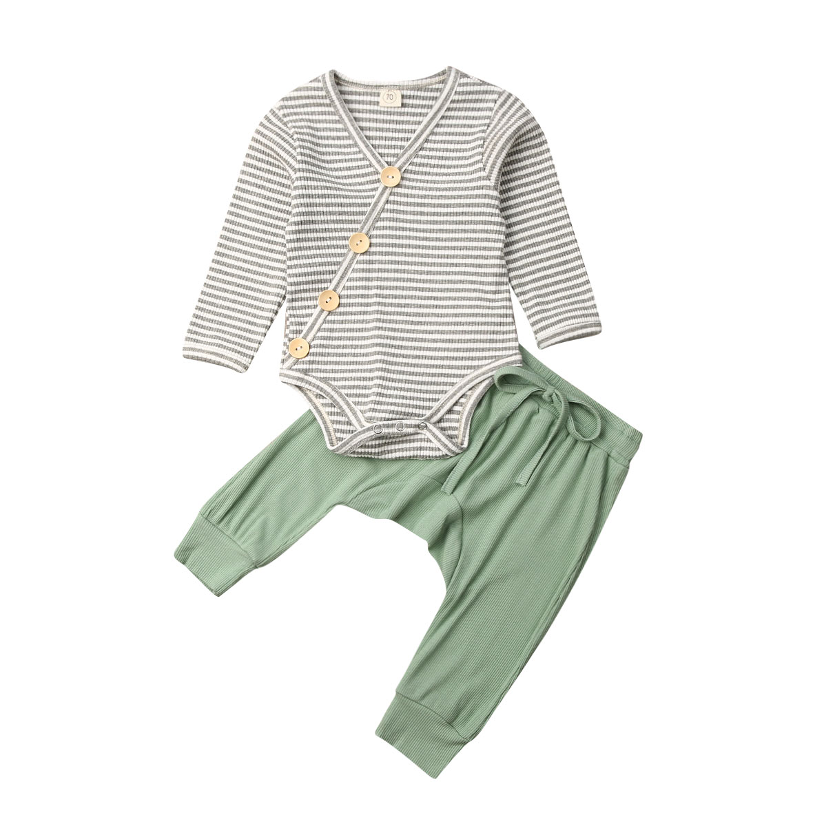 0-18Months New Born Baby Infant Boys Clothes Striped Long Sleeve Bodysuits +pants 2pcs Set Casual Outfits