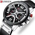CURREN Herren Uhren Top Brand Luxus Leder Sport Uhr Männer Mode Chronograph Quarz Mann Uhr Wasserdicht Relogio Masculino