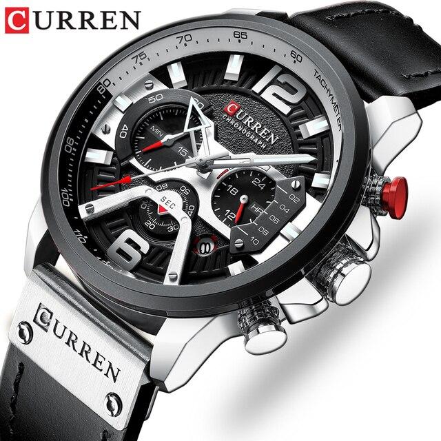CURREN Mens שעונים למעלה מותג יוקרה עור ספורט שעון גברים אופנה הכרונוגרף קוורץ גבר שעון עמיד למים Relogio Masculino