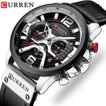 CURREN montre de sport en cuir pour hommes, marque de luxe, style chronographe à Quartz, étanche