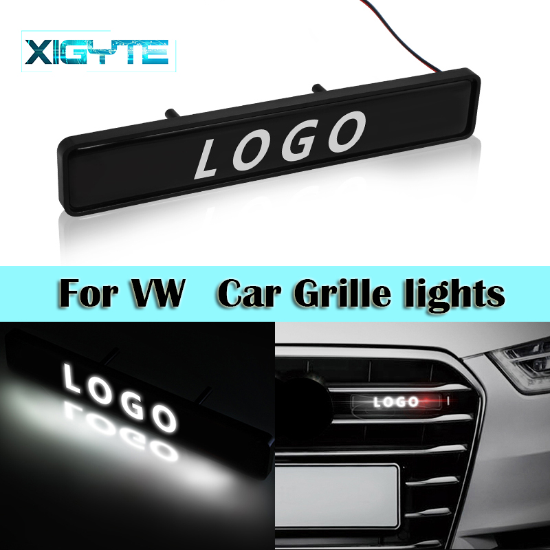 ABS Chrome Grille Emblem Badge LED lights Car Logo Sticker For Volkswagen polo passat b5 b6 golf 4 5 6 mk6 tiguan Gol Cross Eos image