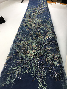 Image 5 - African Fashion Tassel Lace Fabric 2019 High Quality French Embroidered Tulle Lsce For Nigerian Wedding Party Dress   H0139