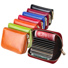TRASSORY Rfid Blocking Fashion Girl Top Layer Cowhide Genuine Leather Coin Purse Wallet Name Credit Card Holder Case For Women