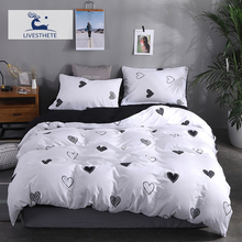 Liv-Esthete Fashion Love White Bedding Set Soft Printed Duvet Cover Pillowcase Double Queen King Bed Linen Bedspread Flat Sheet