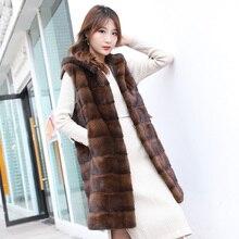새로운 정품 진짜 자연 밍크 모피 조끼 코트 여성 자켓 outwear