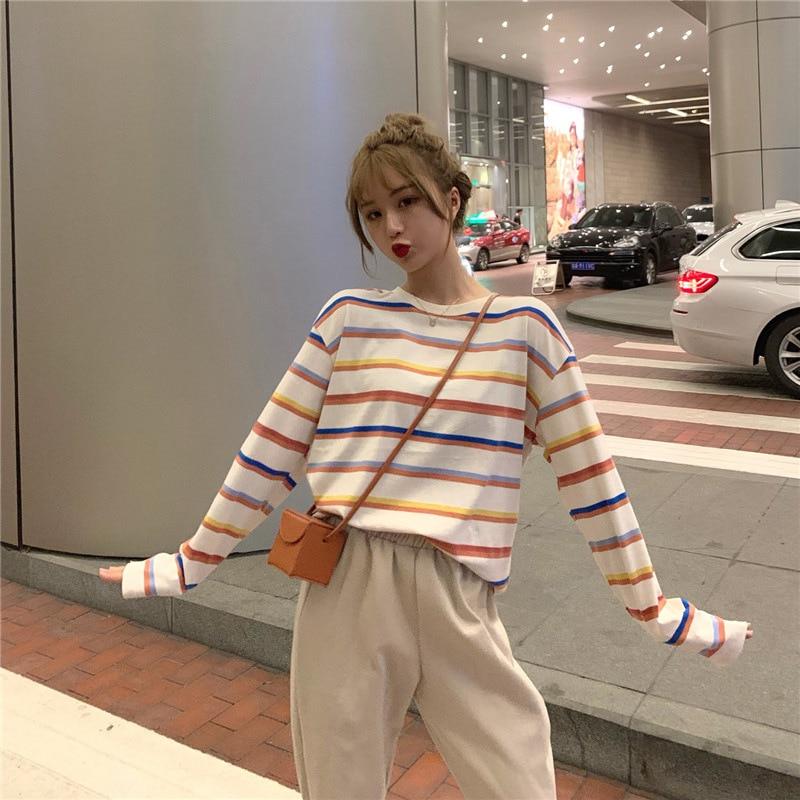 Rainbow T Shirt Women Striped Kawaii Clothes Harajuku Korean Style Streetwear Aesthetic Long Sleeve Fall Roupas Feminina O Neck
