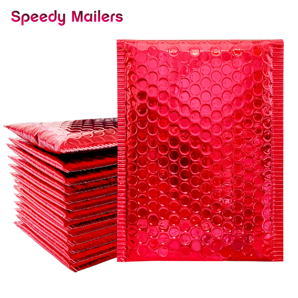 10PCS Dark Red Metallic Foil Bubble Mailers Aluminized Postal Bubble Bags Wedding Bags Gift Packaging Padded Shipping Envelopes