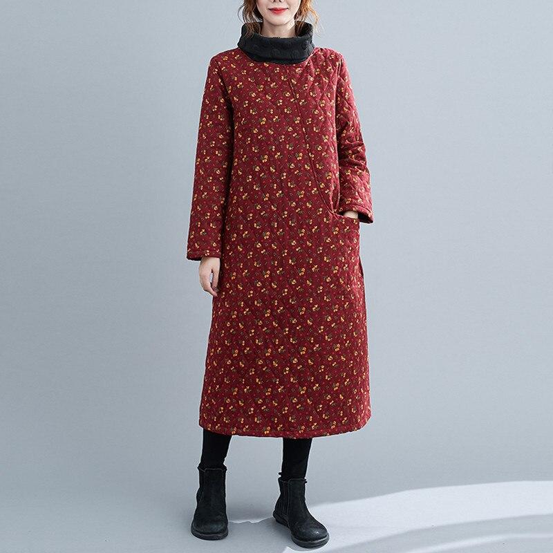 long sleeve plus size cotton vintage floral for women casual loose autumn winter dress elegant clothes 2021 ladies dresses 8