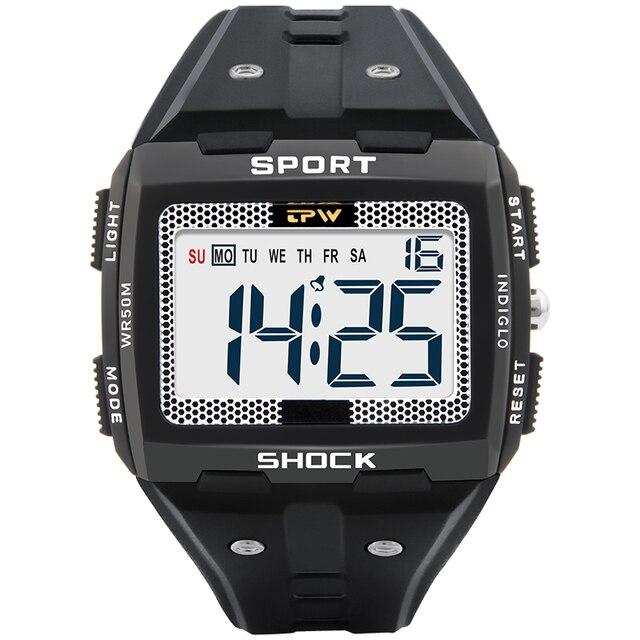 Big Numbers Men Sport Watch Digital Multifunction Alarm Chrono 5Bar Waterproof Back Light Square Screen 1
