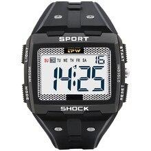 Duże liczby mężczyźni Sport zegarek cyfrowy wielofunkcyjny Alarm chronometr 5ATM wodoodporne tylne światło placu