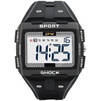Mężczyźni Sport Watch wielofunkcyjny stoper Fitness budzik 5Bar wodoodporna lampa wyświetlacz cyfrowy zegarki hurtownie reloj hombre tanie i dobre opinie CN (pochodzenie) 25cm Klamra Rectangle 49mm 14mm Akrylowe Podświetlenie Wyświetlacz LED Chronograph Kompletna kalendarz