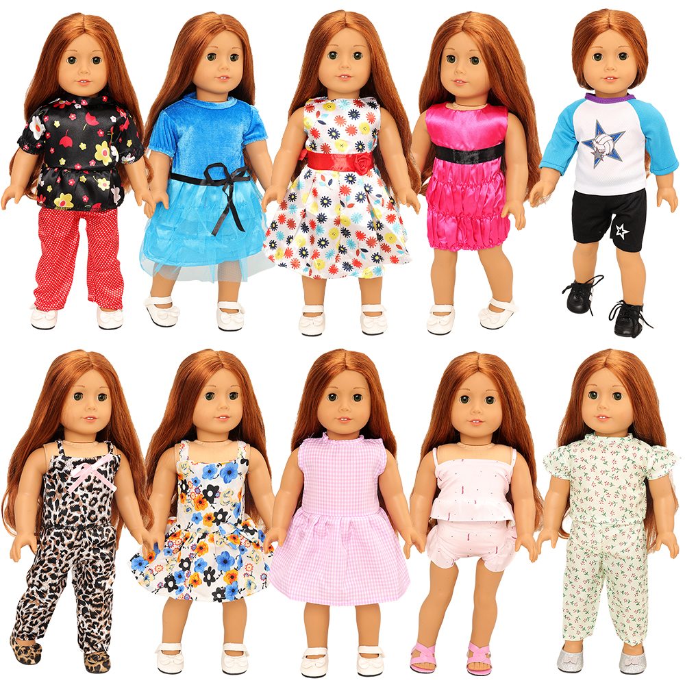 New Arrive Fashion 10 Items/Lot Dolls Clothes Dresses Accessories 43 cm Our Generation Doll Clothes For 18 inch Toys For Kids
