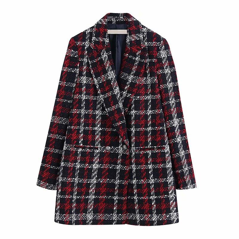 Plaid Printed Blazer Vintage Women Winter Warm Jacket Elegant Double Breasted Suit Blazer Ladies Outerwear Wool Blend Coat