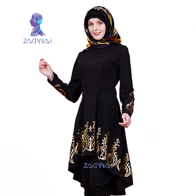 Fashion Turkish dress Solid color, Printing Women's clothing