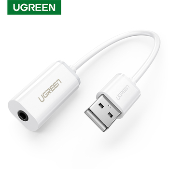 Ugreen Звуковая карта Внешний 3,5 мм USB адаптер USB для наушников динамик аудио интерфейс для компьютера PS4 USB звуковая карта