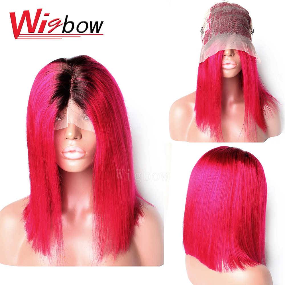 Straight Brazilian Lace Front Wig 1B Rose Red 10 - 14 Inches Remy Human Hair Wig 150% Density With Baby Hair Wigbow Hair