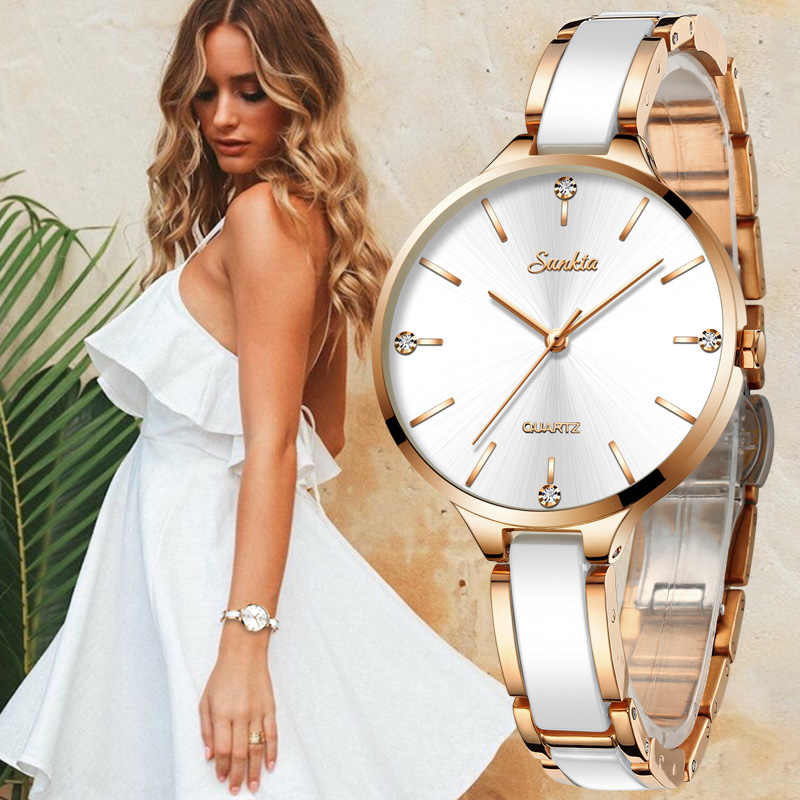SUNKTA reloj de cerámica para mujer Reloj Simple de diamantes reloj de moda Casual deportivo impermeable reloj de pulsera para mujer