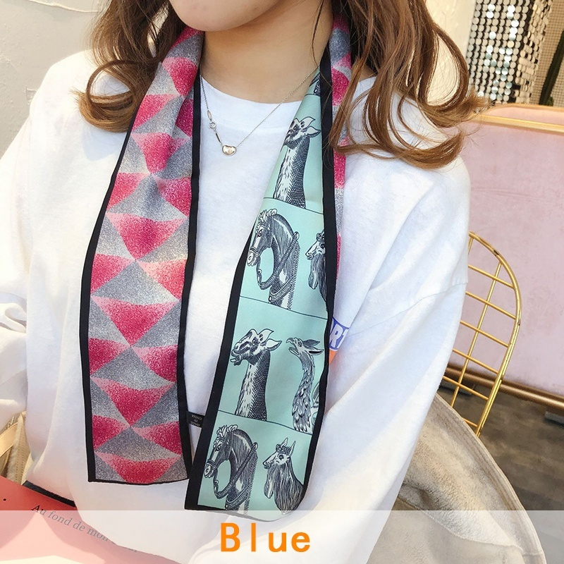 Silk Like Scarf Women's Fashion Pony Pattern  Satin Headscarf