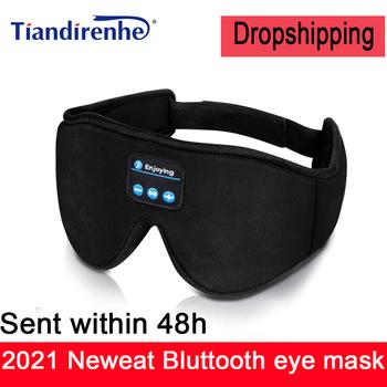2021New 3D Stereo słuchawki snu Bluetooth 5 0 bezprzewodowa muzyka maska na oczy fabryka Dropshipping tanie i dobre opinie Tiandirenhe Nauszne Dynamiczny CN (pochodzenie) wireless 103dB NONE instrukcja obsługi Kabel do ładowania do 32Ω BT-01