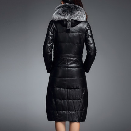 High Quality Genuine Leather Jacket Women Duck Down Long Hooded Pure Fox Fur Jaqueta Plus Size 3XL Overcoat LX356