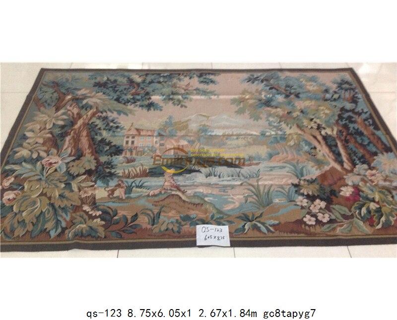 Oude Franse Aubusson Wandtapijten handgeweven Grote Geometrische Patronen Bed Cover