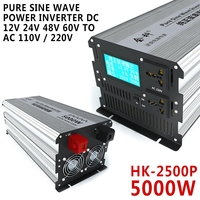 Electrical Equipment HK 2500P 5000W Pure Sine Wave Power Inverter DC 12V 24V 48V 60V 72V to AC 110V / 220V Inverters Converters