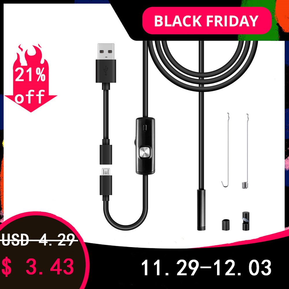 USB Endoscope Pipe Car Repair 480P Borescope Video Flexible Inspection Camera IP67 For Android PC Notebook Macbook Phone