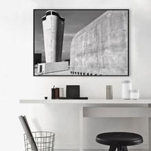 Toile avec Photo architecturale Le Corbusier, affiche avec Architecture française, Marseille, Provence, noir et blanc, décor de bureau