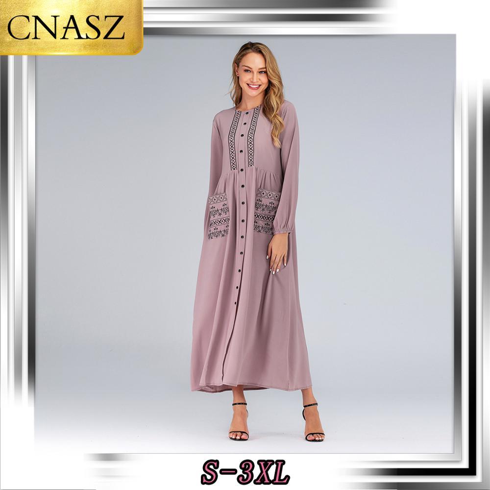 Muslim Dress Arabic For Women Dubai Islamic Large Size Long Sleeve Clothing Turkish Marocain Fashion Embroidery Abaya Kaftan