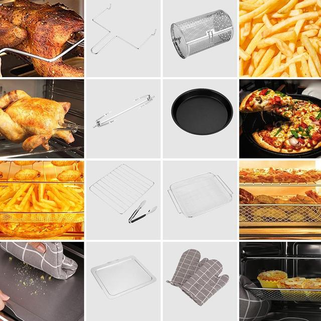 14.7QT Electric Toaster Oven 1800W Electric LED Touch Screen 16-in-1 Smart  Air Fryer 6