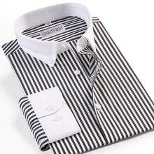 Men's Patchwork Collar Long Sleeve Striped Dress Shirt Pocket-less Design 100% Cotton Casual Standard-fit Button-down Shirt