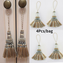 4pcs Tassel Hanging Pendant Curtain Accessories Fringe Silk Thread Pendant Decoration Handmade Crafts Key Tassels