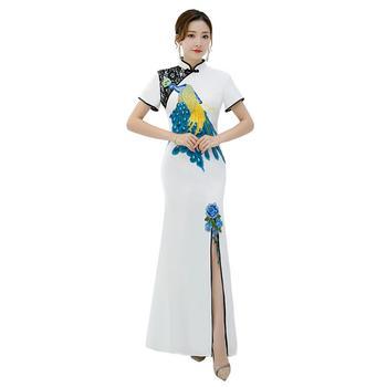 Shanghai Story chinese traditional dress Peacock Embroidery Long mermaid Qipao Short Sleeve Lace cheongsam dress Oriental Dress