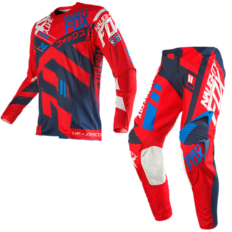 2018 NAUGHTY Fox MX MTB Motocross Suit 360 Divizion Full Set Jersey Pants Combo MX Dirt Bike Off-road Racing Gear Set