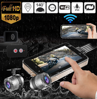 GPS WIFI 128G FHD 1080P Moto Camera 3 Motorcycle DVR Front Rear Dual Camera Driving Video Recorder Dash Cam MotorBike HD 1080