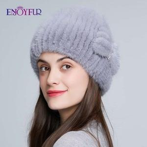 Image 4 - ENJOYFUR الطبيعي فرو منك القبعات للنساء الشتاء عالية الجودة محبوك الفراء قبعات سميكة الدافئة الروسية الإناث قبعة