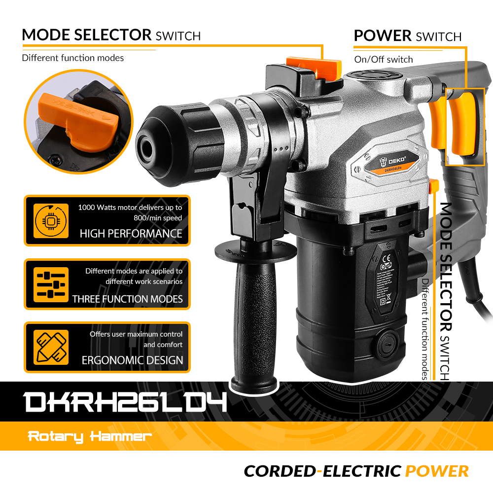Tools : DEKO DKRH26LD4 230V Multifunctional Rotary Hammer with BMC and 6pcs Accessories Electric Demolition Hammer Impact Drill Punch Po