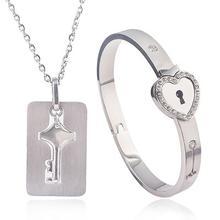 Matching Bracelet Necklace Jewelry Love Heart Lock Bracelet For Men And Women Co
