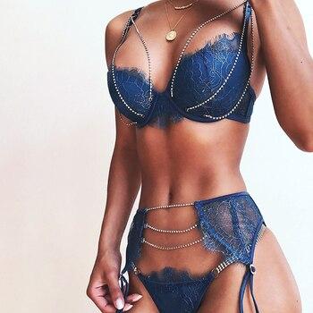 Goocheer Sexy  Ultra-thin Transparent Bra Set with Crystal Chain Lace 3pcs/set Bra+Tongs+Garter Underwear