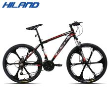 цена на HILAND 26 inch 21 Speed Aluminum Alloy Suspension Bike Double Disc Brake Mountain Bike Bicycle with Service and Free Gifts