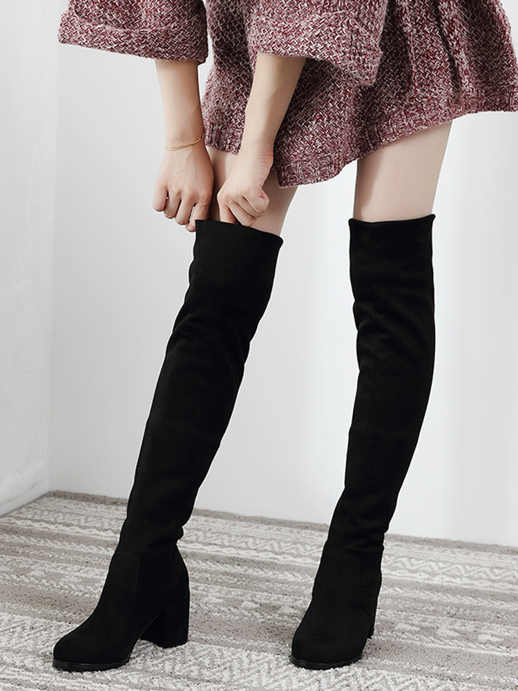 Over-The-Knee Boots Women Shoes Elastic Thigh Autumn Sexy Long Winter Ladies Flock Slim-Fit