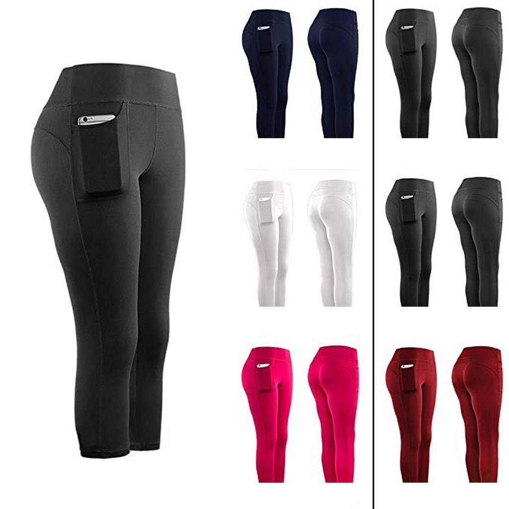 Women Sports Pant Running Active Lounge Jogger Capris With Side Pockets Feeling Leggings Stretch Quality Pantalones Mujer #T1P
