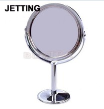 Holder Cosmetic Bathroom Double-Sided Desk Makeup Mirror Dia 8cm Women Home Office Use 1PCS Make Up Mirrors Stainless Steel(China)