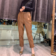 Women Autumn winter High quality real leather pants Fashion high-waist pencil sheepskin ninth A837