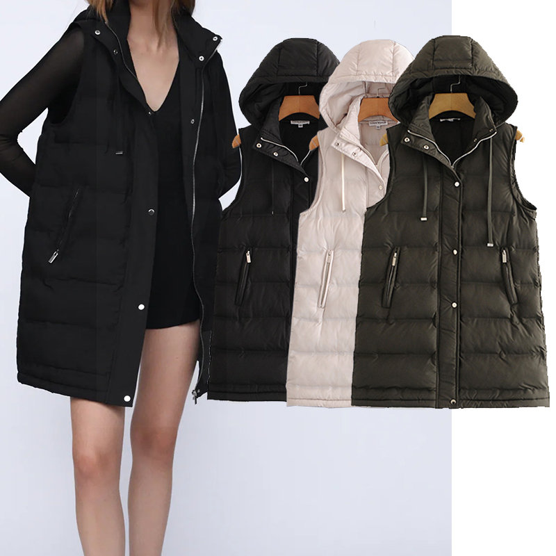 Vest Coat Hooded Chic-Tops Long-Jackets Cotton Women Outerwear Female Fashion 3-Color