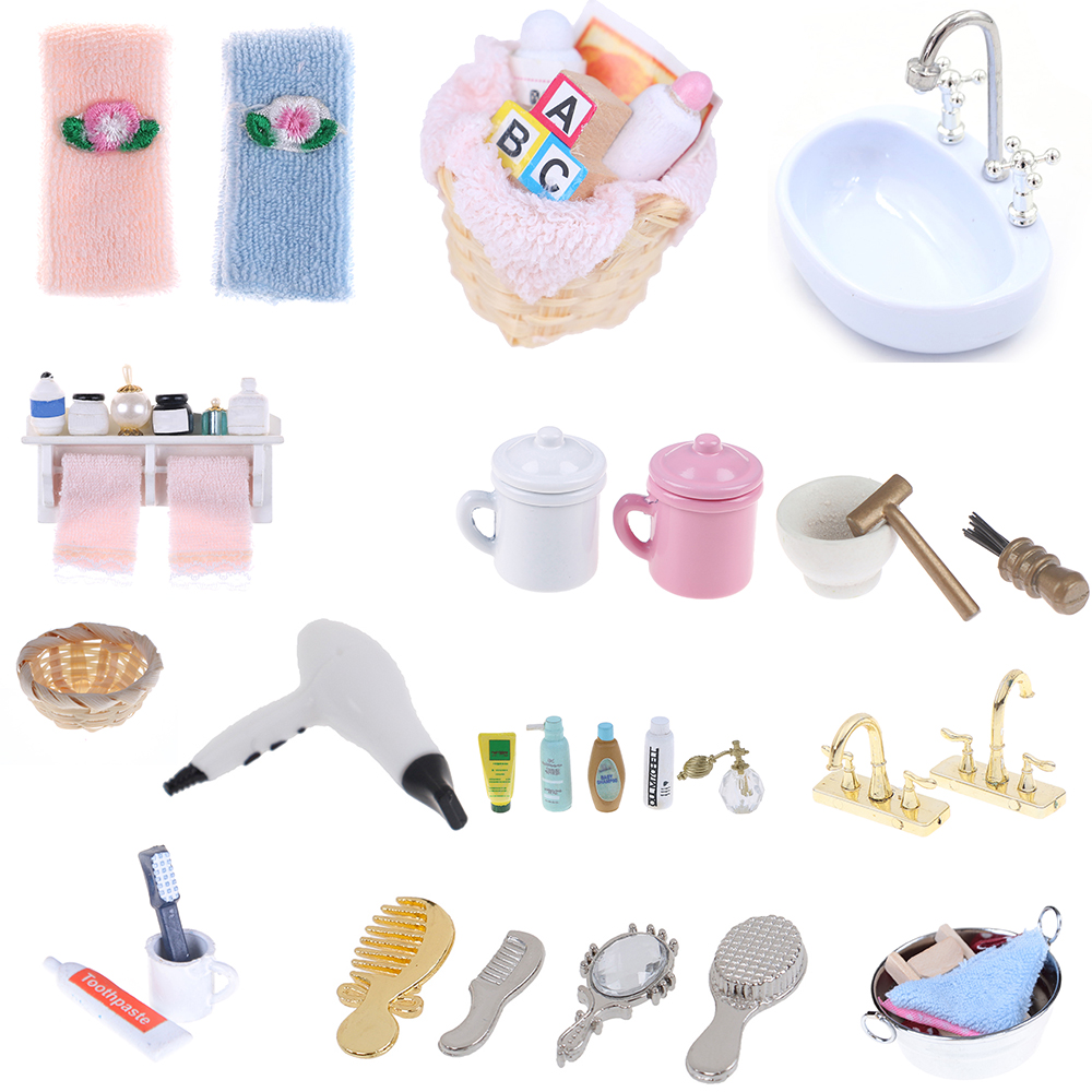 DIY 1/12 Miniature Dollhouse Bathroom Furniture Accessories Sets Bath Toothbrush Toothpaste Cup Comb Hair Dryer Mirror Baby Gift