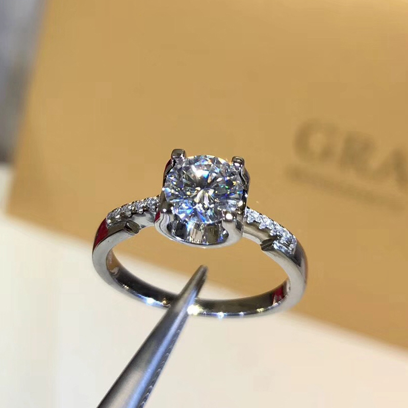 925 sterling silver 1ct 2ct 3ct Round Brilliant Cut Ring VVS1 Diamond Moissanite ring Engagement jewelry Anniversary Ring