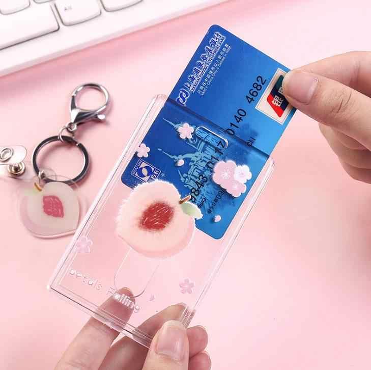 1 sztuk słodkie owoce Avocado brzoskwinia przezroczyste banku na kartę kredytowa, dowód osobisty etui na karty pokrywa kobiety Travel Credit data data powrotu (portfel z brelokiem artykuły papiernicze