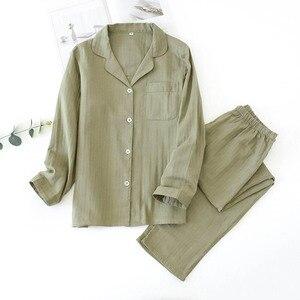 Image 5 - אוהבי פיג מה סט נוחות גזה כותנה מוצק צבע הלבשת עבור גברים ונשים זוגות אביב סתיו מלא שרוול Homewear